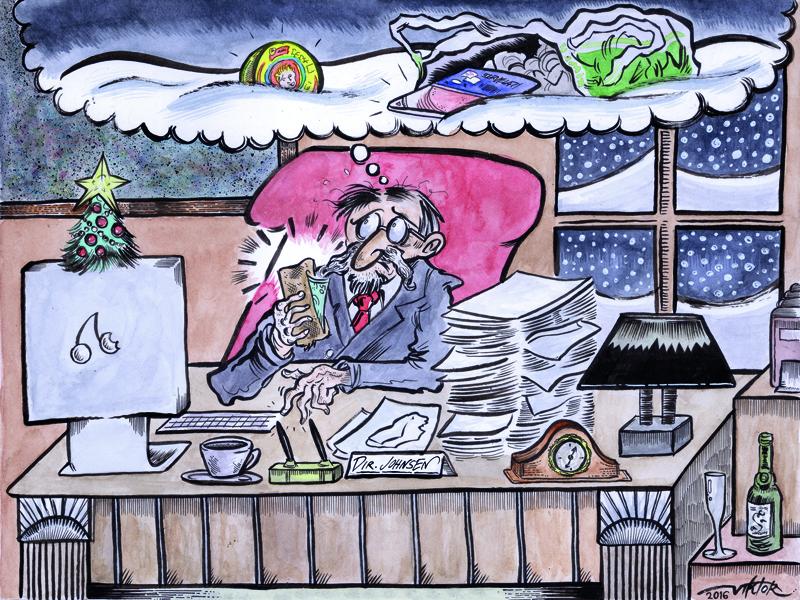 skisse av en mann på jobb som tenker på penger