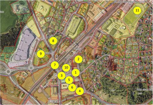 Kart over vestby sentrum med tall som viser til steder