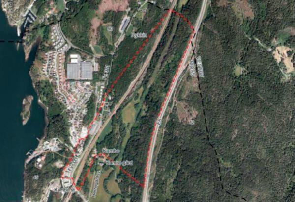 Fly/satelittbilde av området med stipulerte linjer.