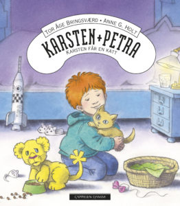 Bokcover fra Karsten og Petra-serien: Karsten får en katt