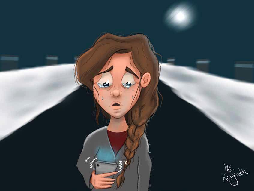 Illustrasjojn av Ine Krogseth som viser en redd jente alene på en mørk vei mens hun holder sin smart telefon som ser ut til å ringe.
