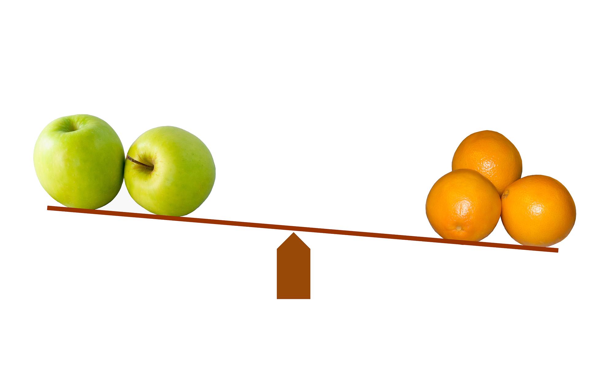 epler og bananer balanserer