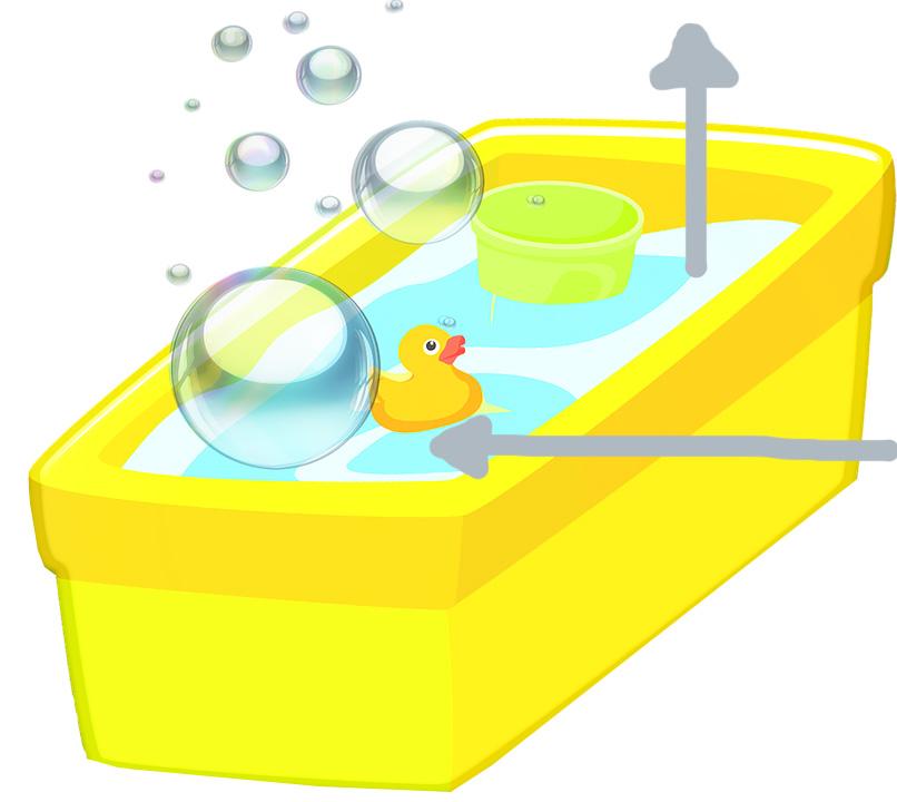 Gult badekar med badeand og bobler, som illustrasjon